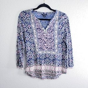 Lucky Brand Split neck Blouse Size M